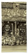 Fat Hen Grocery Sepia Beach Towel