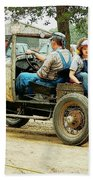 Father And Daughter In The Tractor Parade Beach Towel