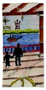 Father And Son On The Porch Beach Towel