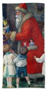 Father Christmas With Children Beach Towel