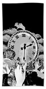 Father Time In Black And White Beach Towel