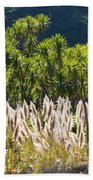 Feathery White Plants Beach Towel