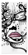 Female Abstract Face Beach Towel by Darren Cannell