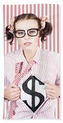 Female Business Superhero Showing Dollar Sign Beach Towel