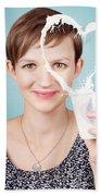 Female Nutritionist Showing Full Cream Milk Love Beach Towel