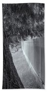 Fence In Black And White Beach Towel by Tom Singleton