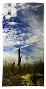 Fence Post And New Mexico Sky Beach Towel