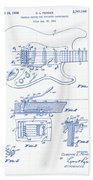 Fender Guitar Patent Drawing Beach Towel