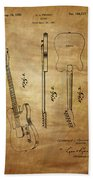 Fender Guitar Patent From 1951 Beach Towel