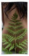 Fern And Woman Beach Towel