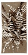 Fern In Sepia Beach Towel