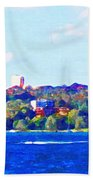 Ferries In The Harbor Beach Towel