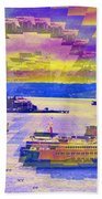 Ferries Off Alki Beach Towel
