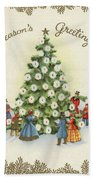Festive Christmas Tree In A Town Square Beach Towel