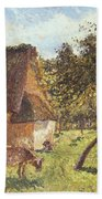 Field At Varengeville Beach Towel by Camille Pissarro