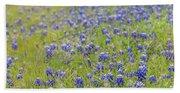 Field Of Blue Bonnet Flowers Beach Sheet