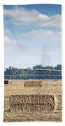 Field With Straw Bale And Center Pivot Sprinkler System Agricult Beach Towel