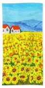 Field With Sunflowers Beach Towel