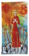 Fiery Eight Of Swords Illustrated Beach Towel