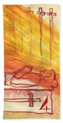 Fiery Four Of Swords Illustrated Beach Sheet
