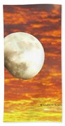Fiery Moon Beach Towel