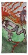 Fiery Seven Of Swords Illustrated Beach Sheet