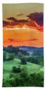 Fiery Sunset On The Farm Beach Towel