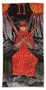 Fiery Two Of Swords Illustrated Beach Sheet