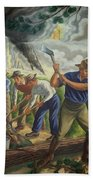 Fighting Forest Fire Beach Towel