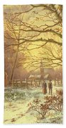 Figures On A Path Before A Village In Winter Beach Towel by Johannes Hermann Barend Koekkoek