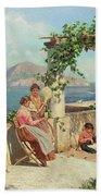 Figures On A Terrace In Capri  Beach Sheet