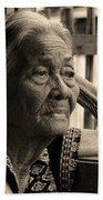 Filipino Lola Image Number 33 In Black And White Sepia Beach Towel