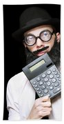 Financial And Accounting Genius With Calculator Beach Towel