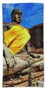 Finding, Not Seeking At Wat Worachetha Ram In Ayutthaya, Thailand Beach Towel