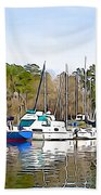 Fine Day To Sail - Illustration Style  Beach Towel