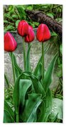 Fine Wine Cafe Red Tulips Beach Towel