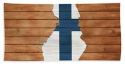 Finland Rustic Map On Wood Beach Towel