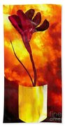 Fire And Flower Beach Towel
