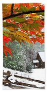 Fire Fog And Snowy Fence Beach Towel