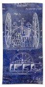 Fire Hose Cart Patent Blue Beach Sheet