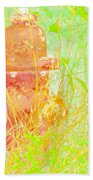 Fire Hydrant Watercolor Beach Towel