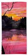 Fire In The Sky    Lake Arrowhead Maine Beach Towel