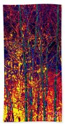 Fire In The Trees Beach Towel