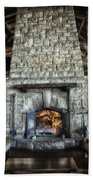 Fireplace At The Lodge Vertical Beach Towel