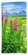 Fireweed In The Foreground 2 Beach Towel
