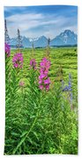 Fireweed In The Foreground Beach Towel