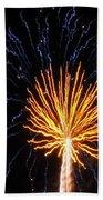 Firework Blue And Gold Beach Towel