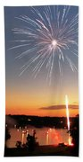 Fireworks And Sunset Beach Towel by Amber Flowers