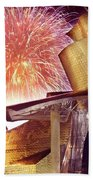 Fireworks At Guggenheim Beach Towel