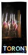Fireworks At Toronto City Hall Beach Towel